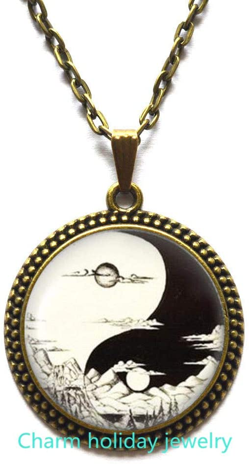 Charm holiday jewelry Day and Night Necklace,Sun and Moon Pendant with Chain,Yin Yang Necklace,Men and Women Accessories-#85