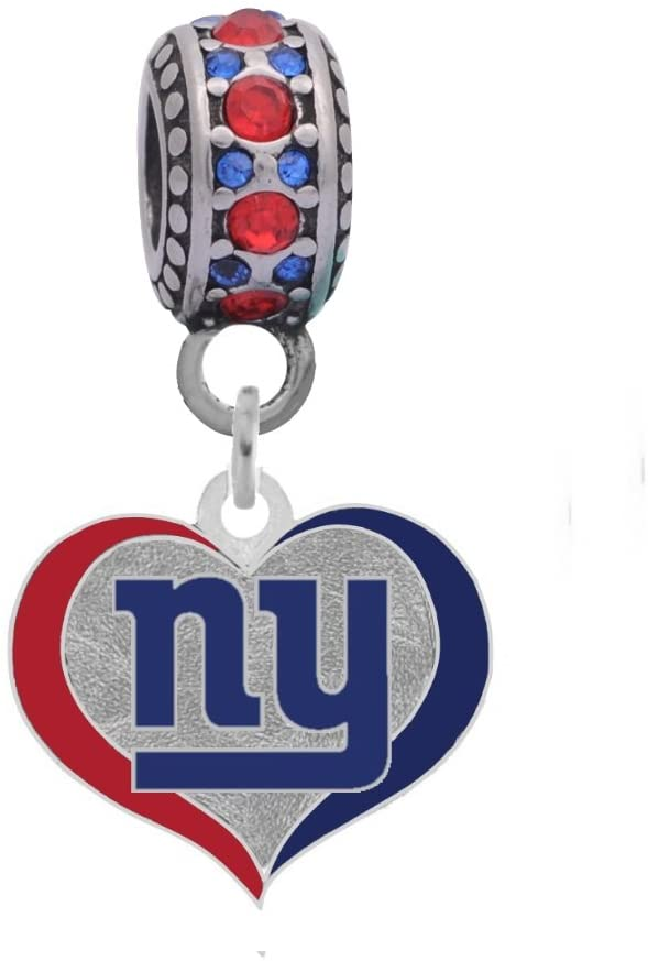 Final Touch Gifts New York Giants Swirl Heart Charm Fits European Style Large Hole Bead Bracelets
