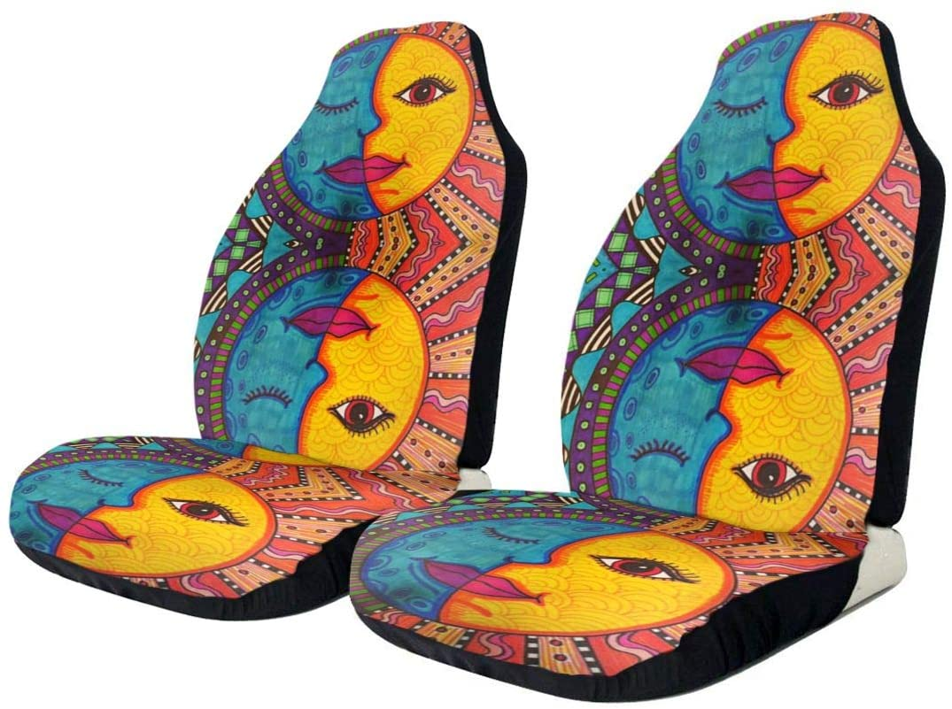 Jxrodekz Mexican Folk Sun and Moon Paint Color Car Seat Cover Protector Cushion Premium Covers for Women, Men, Girls, Boys Fits Most Cars, Truck, SUV Or Van