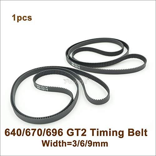 Ochoos 640/670/696 2GT Timing Belt W=3/6/9mm Perimeter 640/670/696mm Teeth 320/335/348 GT2 Closed-Loop Synchronous Belt 696-2GT - (Width: 6mm, Length: Perimeter 670mm)