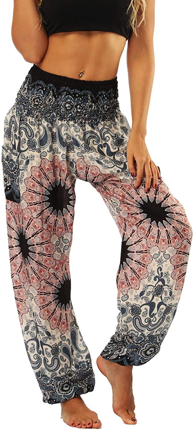 Lu's Chic Women's Boho Pants Harem Smocked Waist Yoga Hippie Palazzo Summer Beach Pants