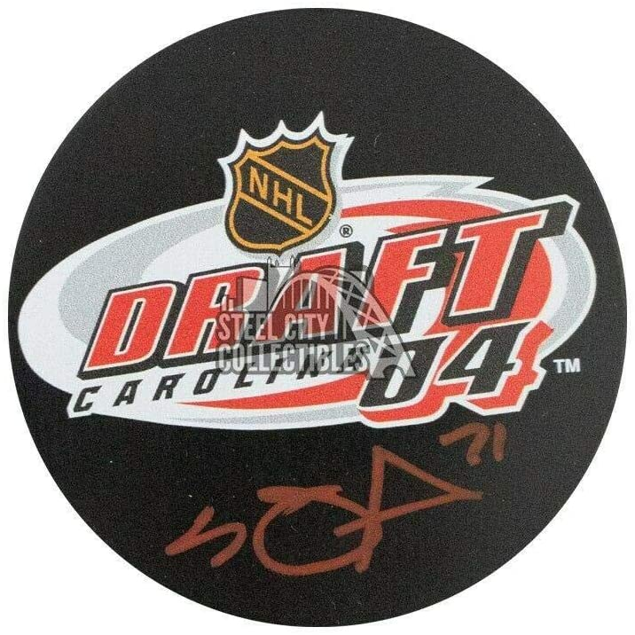 Signed Evgeni Malkin Puck - 2004 NHL Draft BAS COA Red Ink) - Beckett Authentication - Autographed NHL Pucks