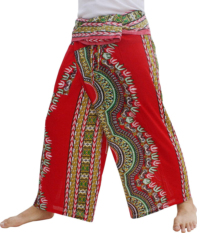 Full Funk Thai Fisherman, Harem Pants Men/Women | Rayon Print | Loose Yoga, Pirate, Kimono, Hippie Pants | Unisex | Dashiki