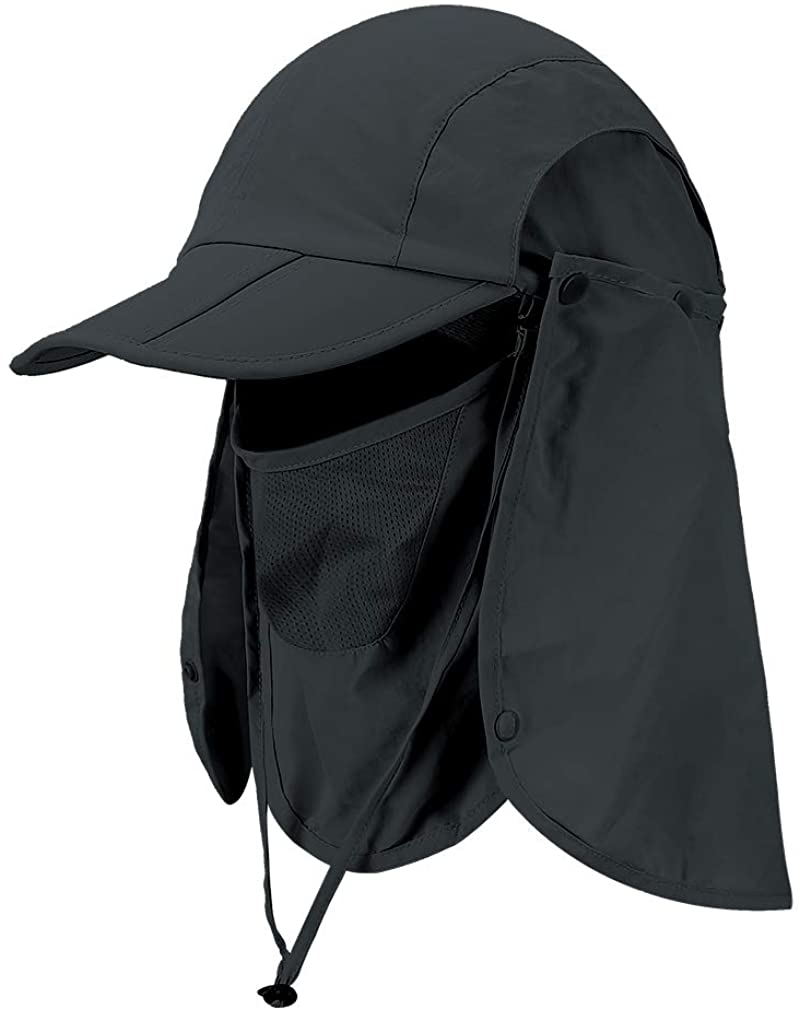 Foldable Sun Cap, Fishing Hats, UV Protection Caps with Face Mask Neck Flap