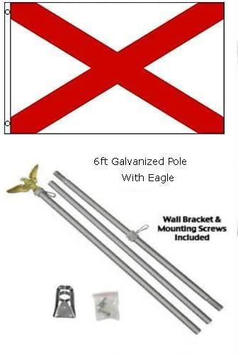 2x3 2x3 State of Alabama Flag Galvanized Pole Kit Eagle Top
