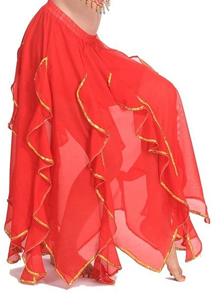 Pilot-Trade Ladys Handmade Belly Dance Panel Skirt with Gold Trim