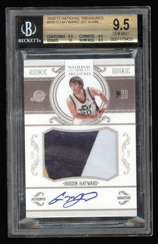 Gordon Hayward Autographed Jersey - 2010 11 National Treasures 83 99 BGS 9 5 - Autographed NBA Jerseys