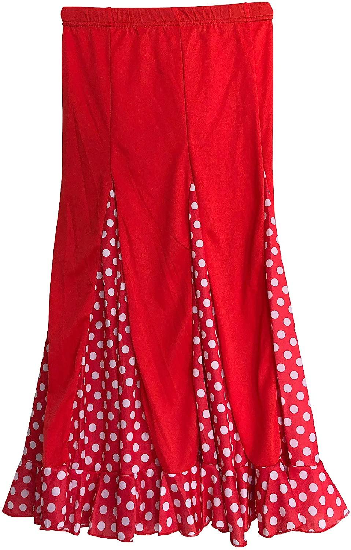 La Señorita Spanish Flamenco Dance Skirt Children red White dots
