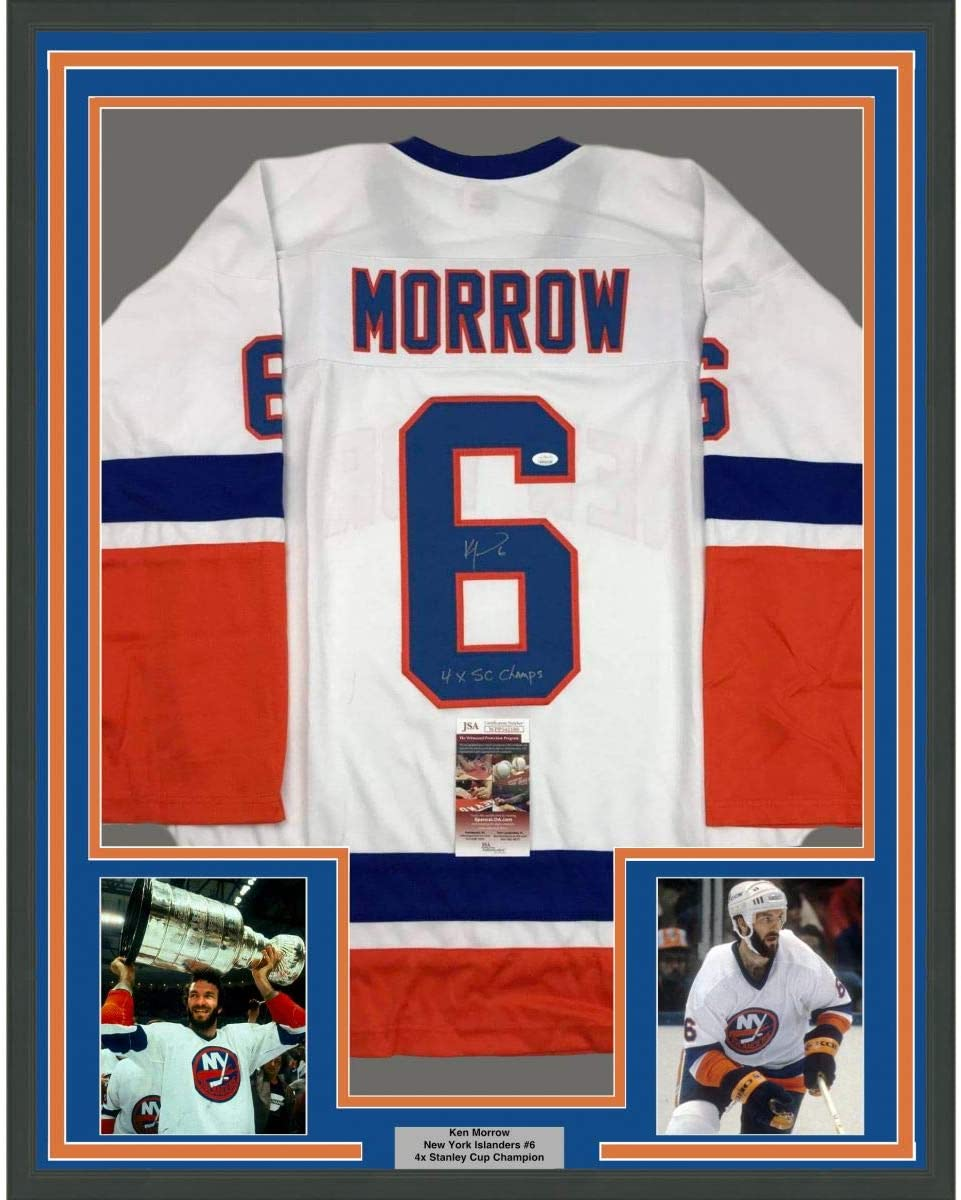 Framed Autographed/Signed Ken Morrow 4x SC Champs 33x42 New York White Hockey Jersey JSA COA