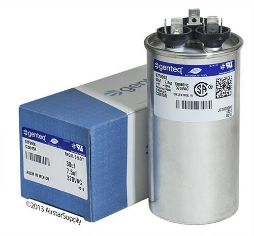 Goodman - 30 + 7.5 uF MFD x 370 VAC Genteq Replacement Dual Capacitor Round # C33075R / 97F9968