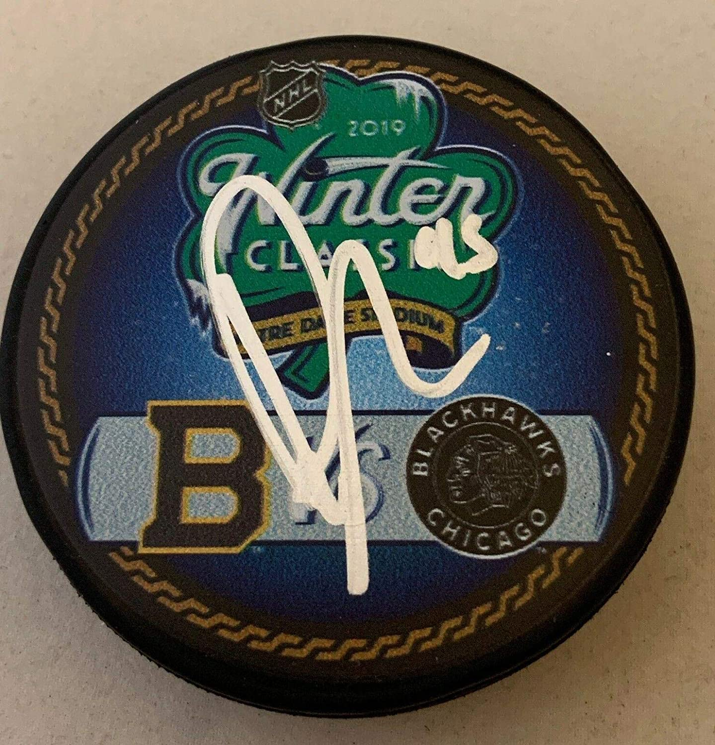 Dylan Sikura Signed Puck - 2019 Winter Classic Dueling Hawks - Autographed NHL Pucks