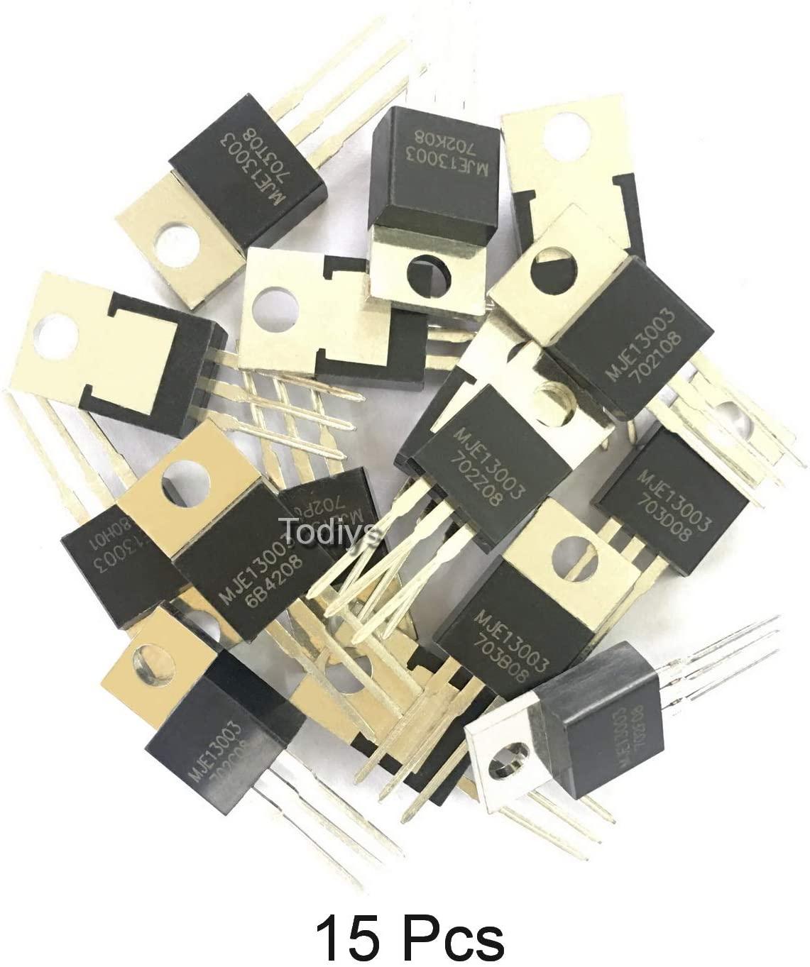 Todiys New 15Pcs for E13003 E13003-2 MJE13003-2 KSE13003-2 TO-220 NPN Silicon Transistor MJE13003
