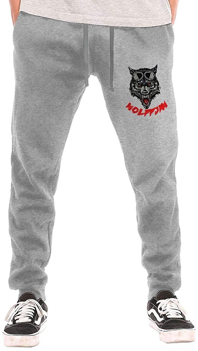 AP.Room Men's Werewolf Logo Casual Sweatpants Black