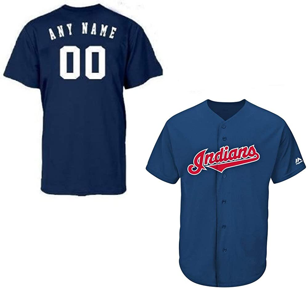 Majestic Athletic Adult XL Cleveland Indians Customized Major League Baseball Cool-Base Replica MLB Jersey Navy Blue
