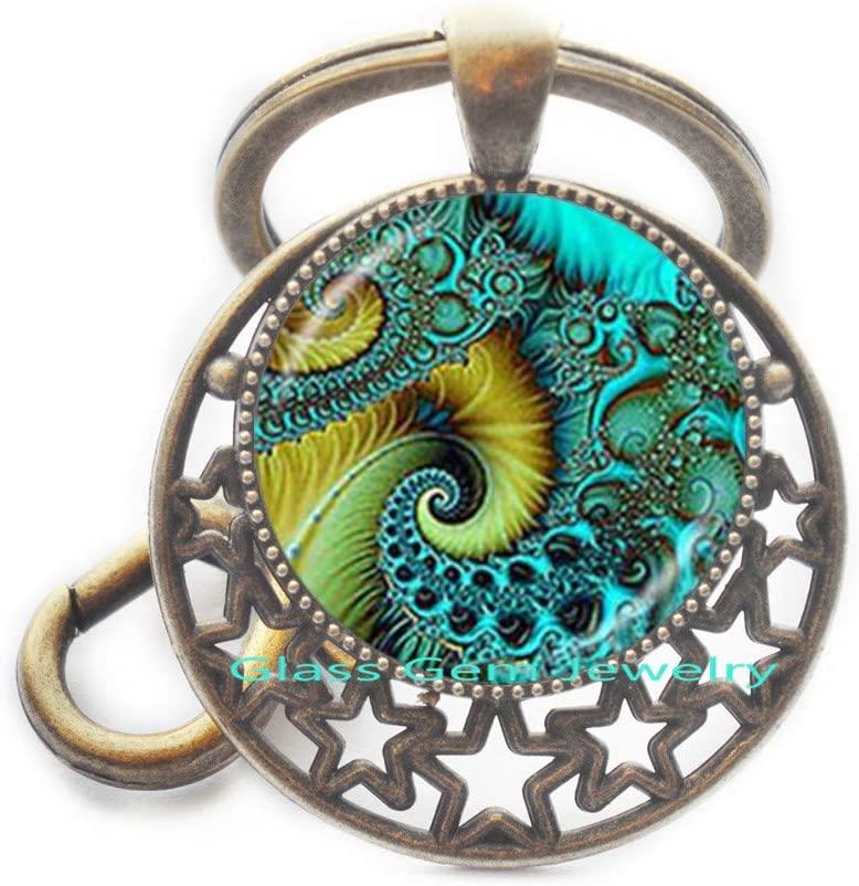 Fibonacci Spiral Keychain Shell Swirls Sacred Geometry Key Ring Golden Ratio Jewelry Fractal Charm Accessories Gift for Her,Q0296
