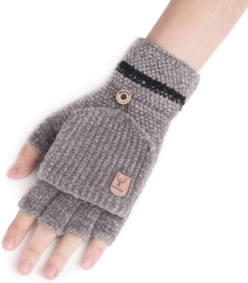 SPRRC Men's Half Finger Flap Gloves Autumn Winter Work Gloves Student Writing Warm Women Mittens Outdoor Riding Camping Gloves