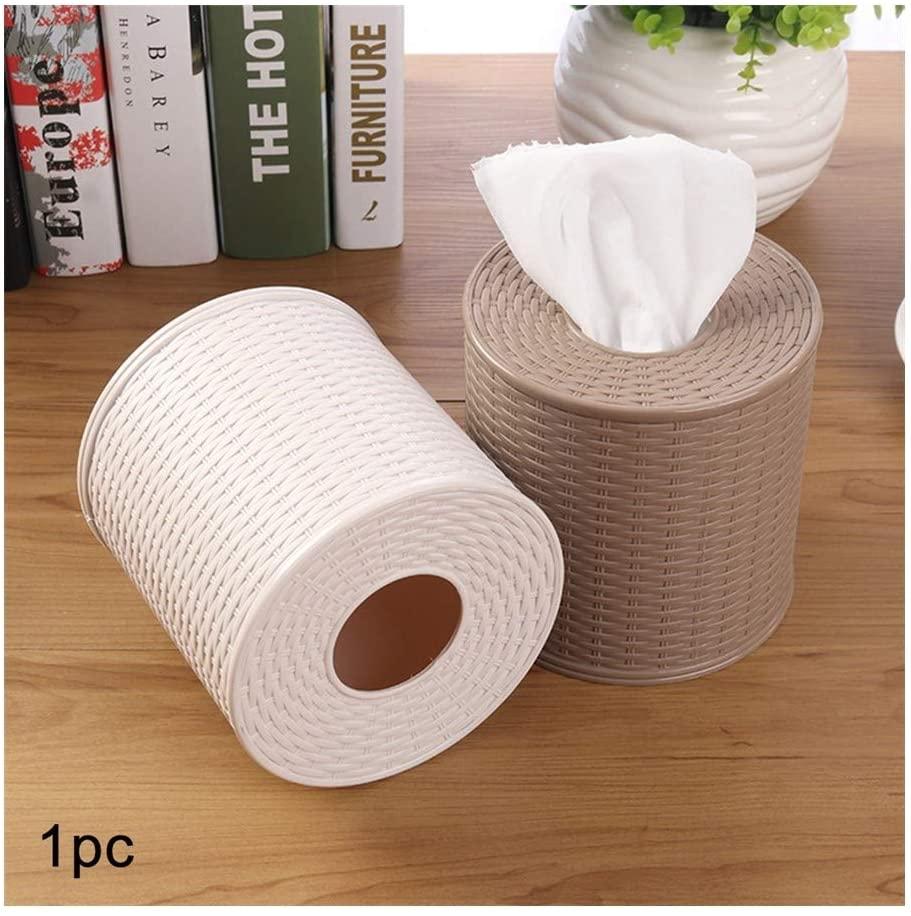 JIANZ Tissue Box Plastic Tissue Box Holder Kitchen Living Room Tissue Storage Box Toilet Bathroom Tissue Rack Round Container (Color : Dark Brown, Size : 13x12.5 cm)
