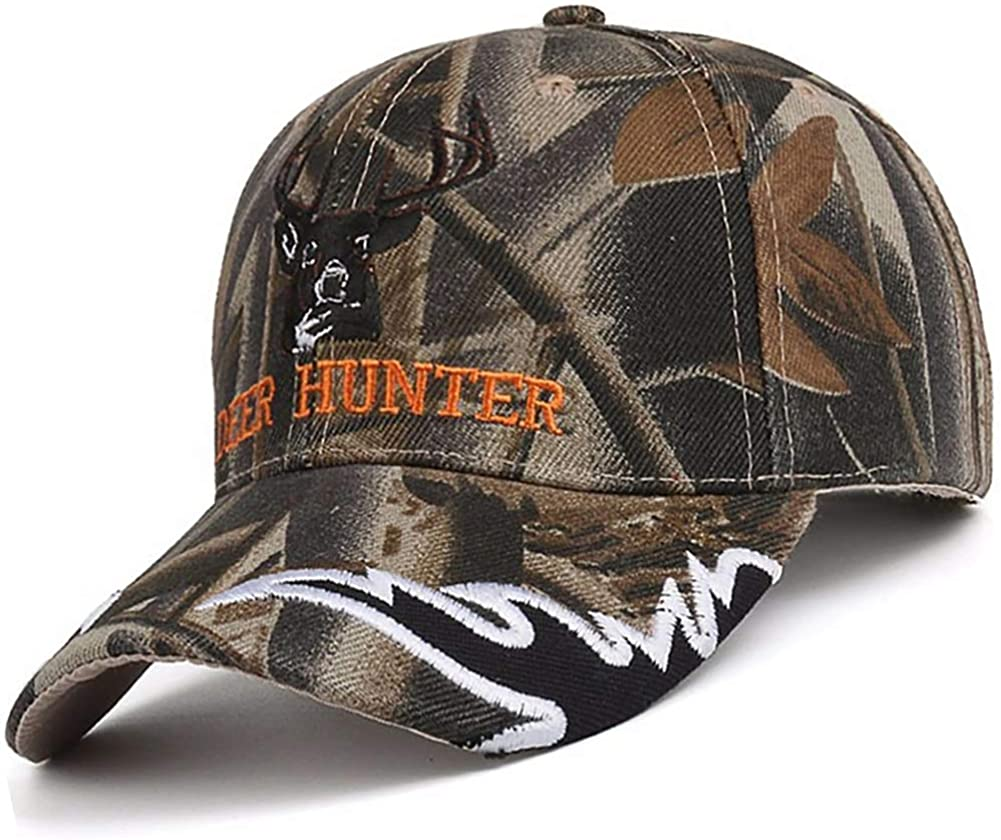 Hunting Hats for Men - Adult Baseball Cap Camouflaged, Camo Deer Hunter 7 3/8 L