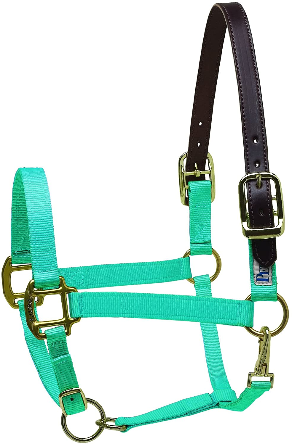 Perris Leather Cob Safety Halter, Turquoise