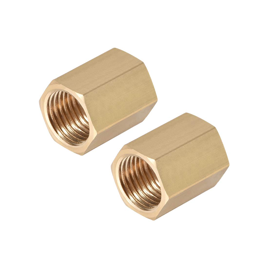 uxcell Brass Pipe Fitting Connector Straight Hex Nipple Coupler 1/4 X 1/4 G Female Thread Gold Tone 2pcs