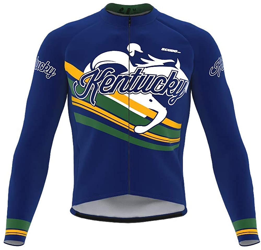 ScudoPro Pro Thermal Long Sleeve Cycling Jersey Kentucky USA State Icon Landmark Identity for Men