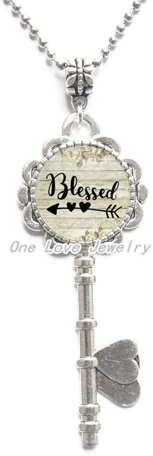 Ni36uo0qitian0ozaap Blessed New for her Gift,Faith Charm,I am Very Lucky,Attractive Alloy Glass Key Necklace Jewelry Birthday Gift,TAP234
