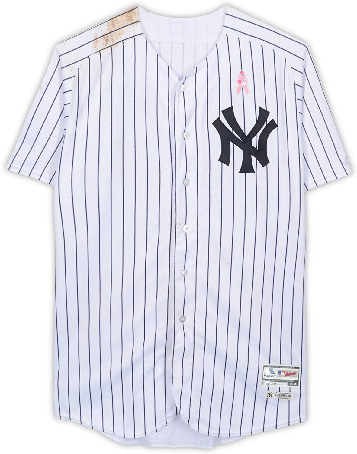 Gary Sanchez New York Yankees Game-Used #24 White Pinstripe Jersey with Mother's Day Patch vs. Oakland Athletics on May 13, 2018 - Fanatics Authentic Certified