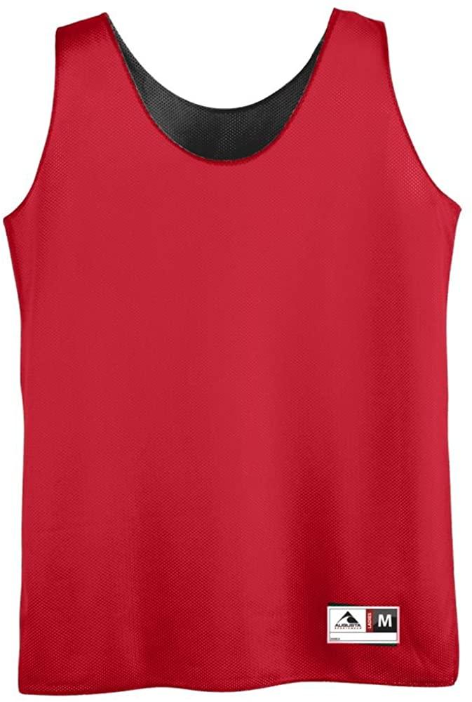 Ladies Reversible Mini Mesh League Tank - RED AND BLACK 2XL