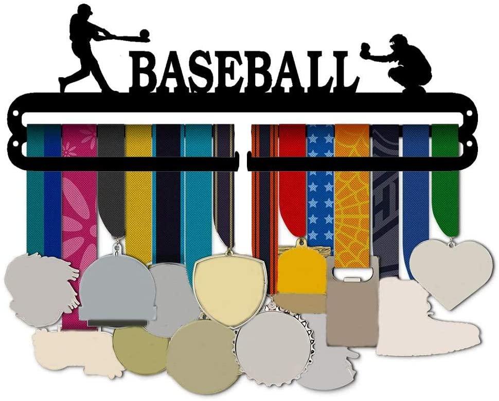 hemistin Baseball Race Medal Rack Iron Rugged Medal Holder for Over 30 Medals Awards, Home Wall Hanging Decoration Black
