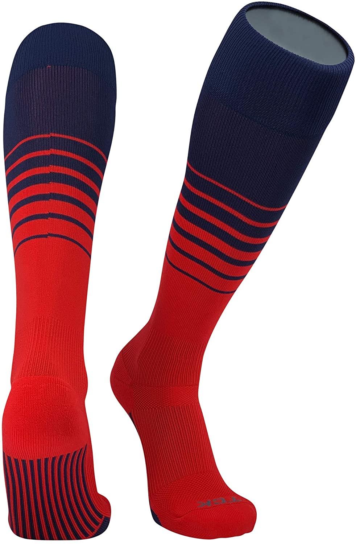 TCK Elite Breaker Fade Lines Knee High Socks Navy Red