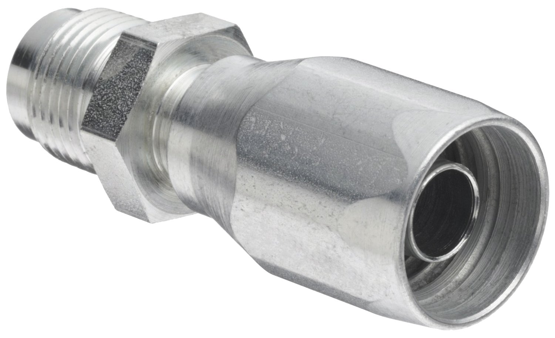 EATON Weatherhead Coll-O-Crimp 05E-505 Male Rigid Fitting, SAE 37 Degree, AISI/SAE 12L14 Carbon Steel, 5/16