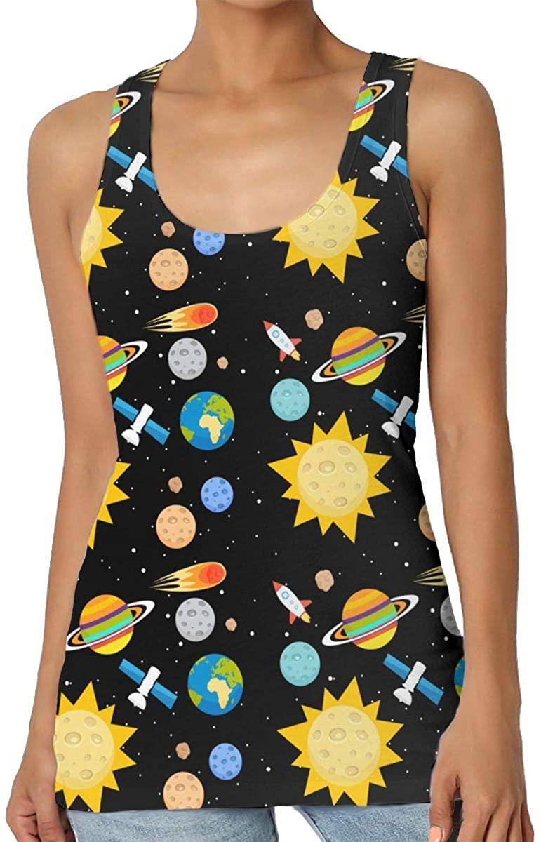 Sun Stars Space Women's Tank Top T-Shirt 3D Printed Sleeveless Vest