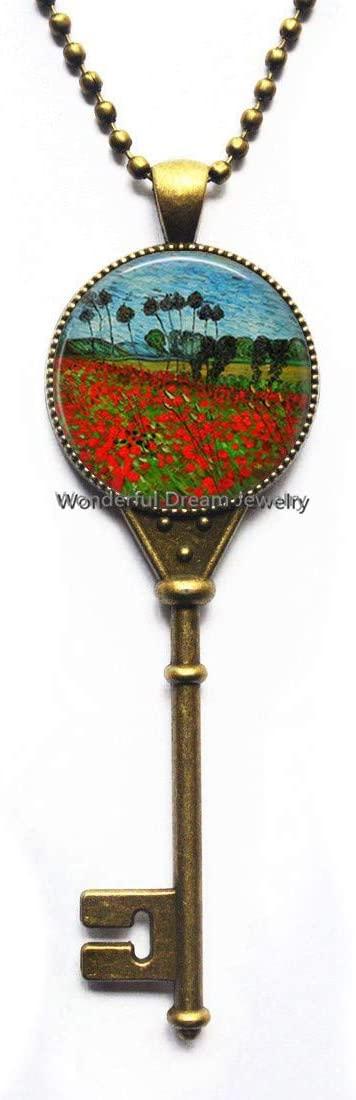 Waozshangu Poppy Field Key Necklace,Poppies Farm Key Necklace,Poppy Flower Pendant,Field of Flowers Romantic Poppy Key Necklace,PU190