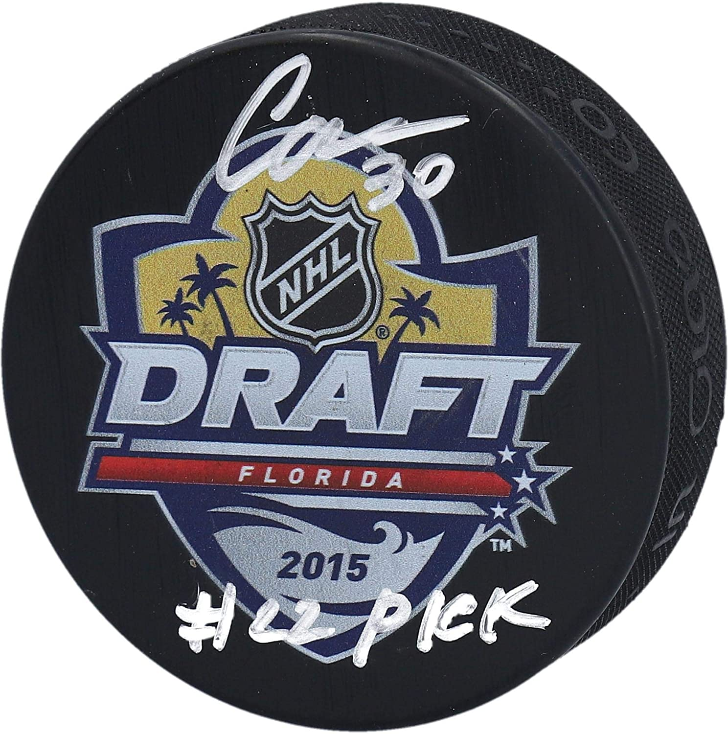 Ilya Samsonov Washington Capitals Autographed 2015 NHL Draft Logo Hockey Puck with#22 Pick inscription - Fanatics Authentic Certified