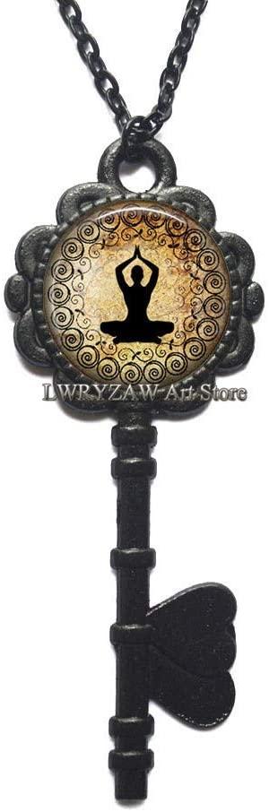 Golden Yoga Key Necklace, Yoga Pendant Yoga Jewelry Yoga Key Necklace Meditation Jewellery, Yoga Student Teacher Gift,M389
