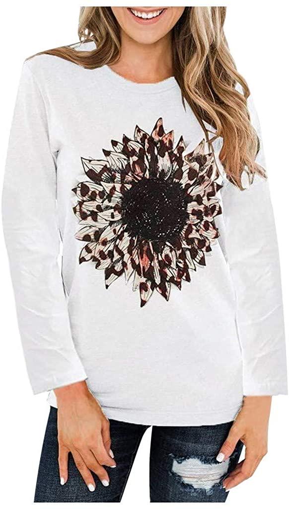 ESKNAS Womens Long Sleeve T Shirts Autumn Sunflower Print O-Neck Pullover Tops Sweatshirts Blouse