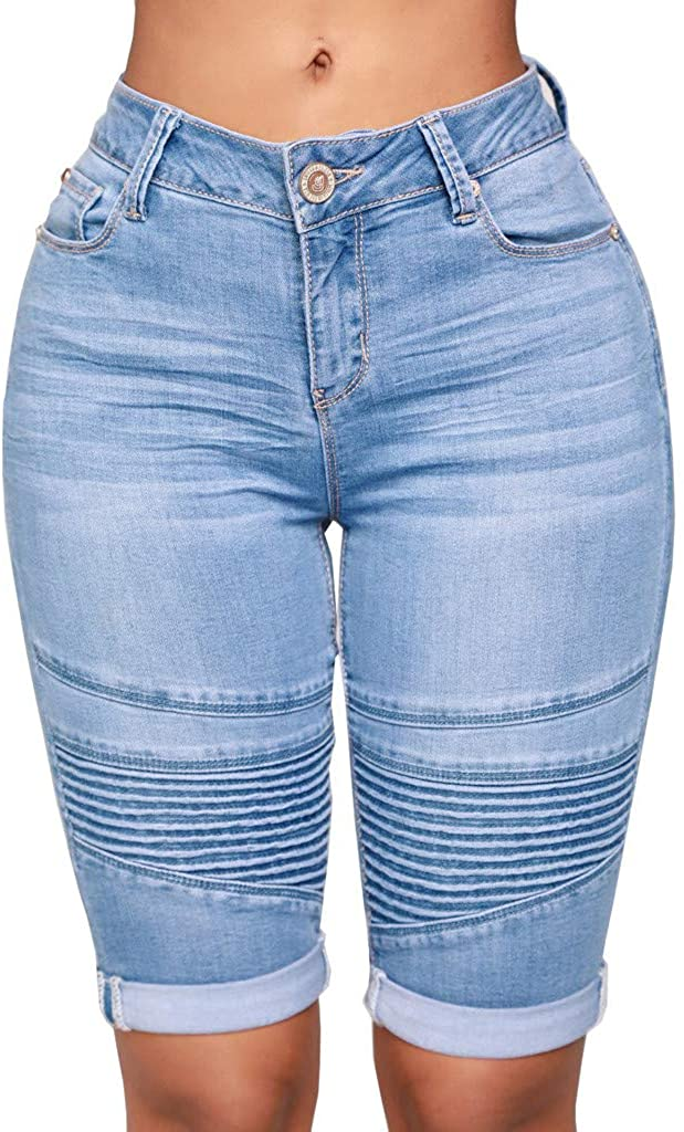 GDJGTA Women Mid Rise Elastic Waist Zip Skinny Denim Knee Length Curvy Stretch Shorts Jeans Pants