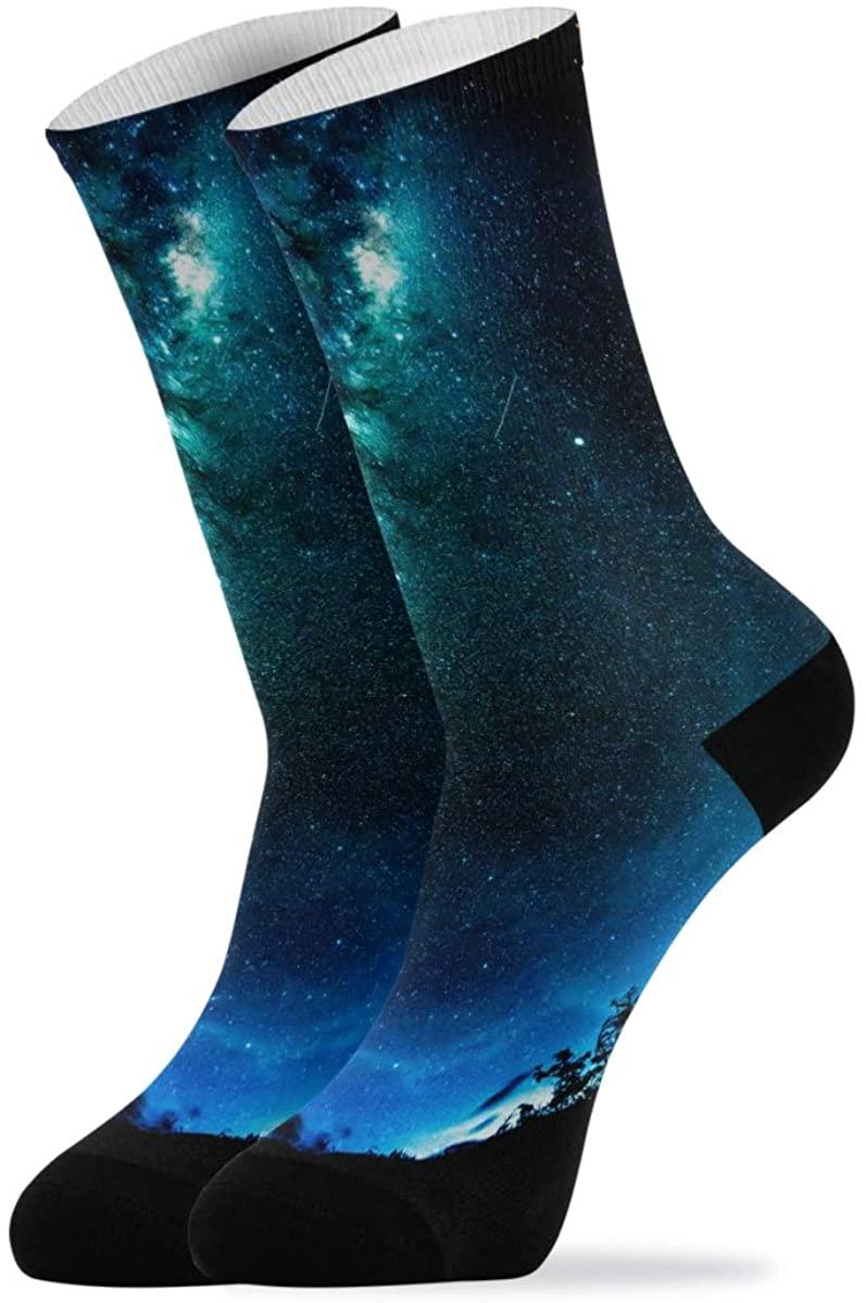 Novelty Quarter Crew Mid Calf High Show Dress Socks For Women Men Hawaii Stars Of Planet Galaxy
