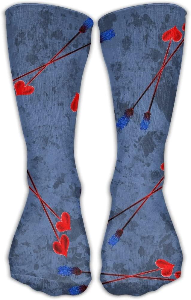 Pin-1 Love Feather Arrow Athletic Socks Novelty Running Long Sock Cotton Socks