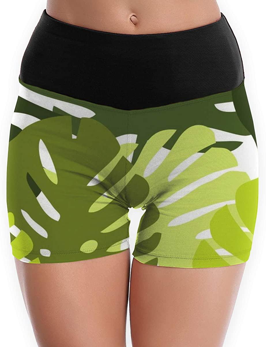 Womens Yoga Shorts Pants Tropical Palm Leaves Jungle Exotic Leaf High Waist