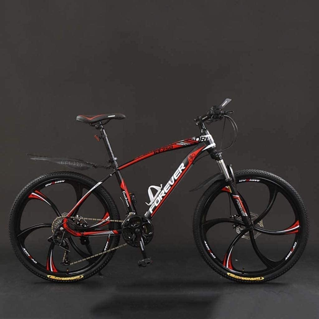 MJY Bicycle, 24 inch 21/24/27/30 Speed Mountain Bikes,Hard Tail Mountain Bicycle, Lightweight Bicycle with Adjustable Seat, Double Disc Brake 6-11,Black Red,24 Speed