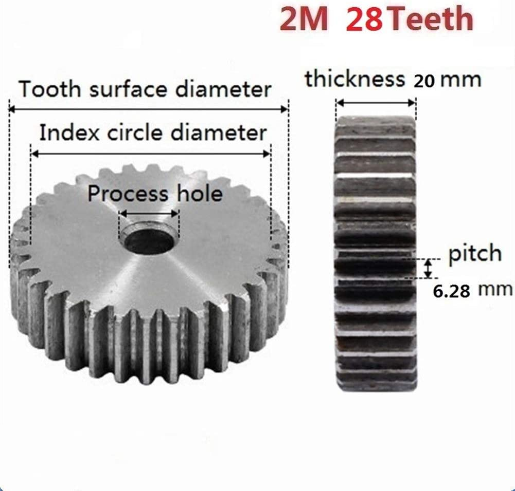 FLY MEN 2Pcs 2M 28Teeth Spur Gear Carbon 45# Steel Micro Motor Transmission Parts Gear Box Mating Parts CNC Robot Accessories