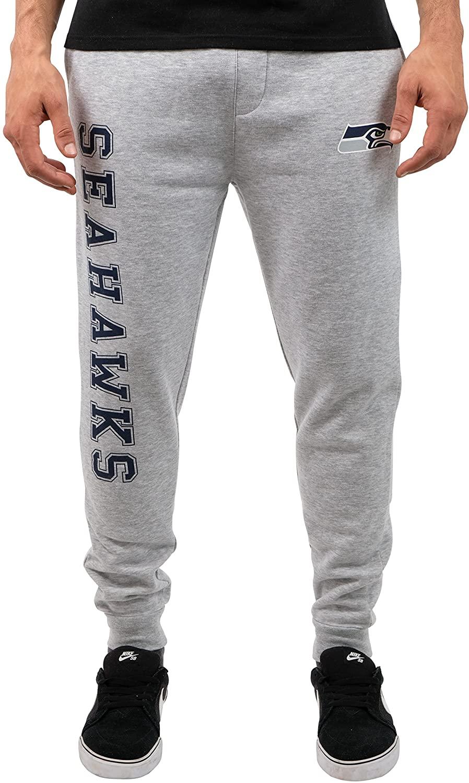 Ultra Game NFL Seattle Seahawks Mens Jogger Pants Active Basic Fleece Sweatpants, Heather Gray 18, X-Large
