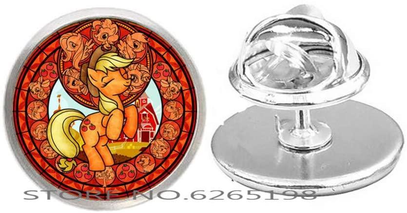 Cute My Horse Princess Brooch Rainbow Gem Handmade Fashion Jewelry,Horse Jewelry,Art Glass Dome Pin,Bridesmaid Gift Birthday Gift,N011