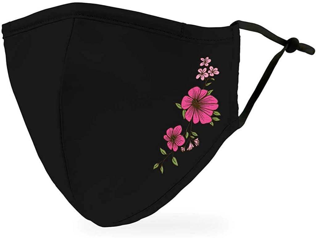 SPORTTIN 1PC Unisex Adult Men Women Activated Carbon Outdoor Floral Printed Washable Reusable Can Put Filter in(B)