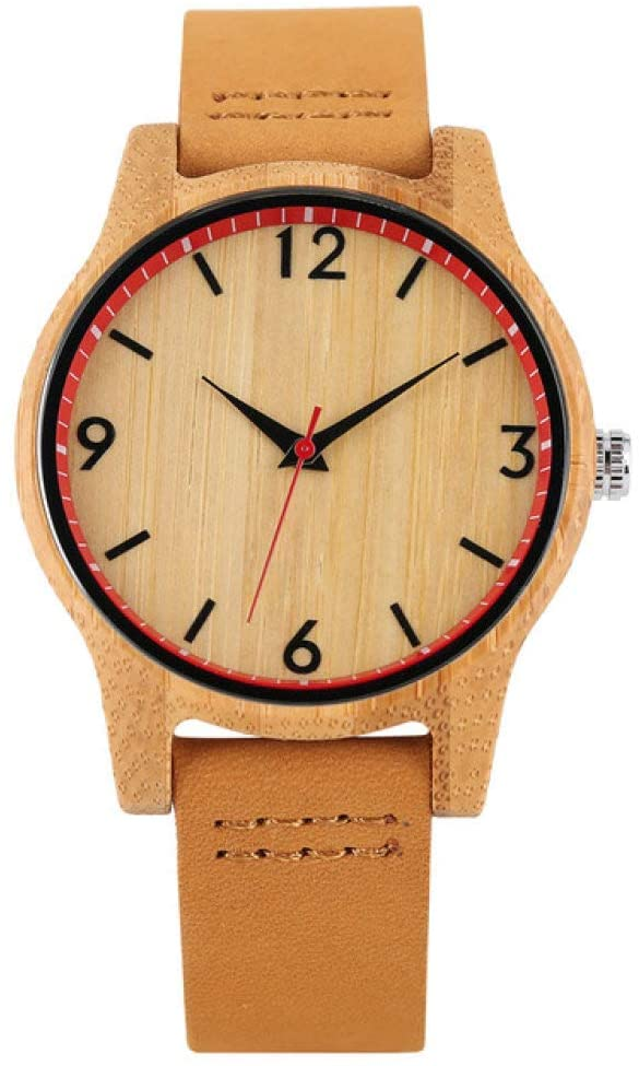 FQD&BNM Wooden Watch Elegant Wooden Watch for Women Quartz Timepiece Ladies Dress Watch Casual Brown Leather Band Analog Simple Female Watches