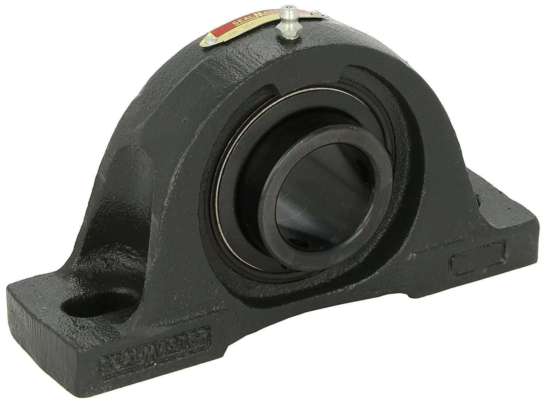 Sealmaster NP-31 Pillow Block Ball Bearing, Non-Expansion Type, Normal-Duty, Regreasable, Setscrew Locking Collar, Felt Seals, Cast Iron Housing, 1-15/16