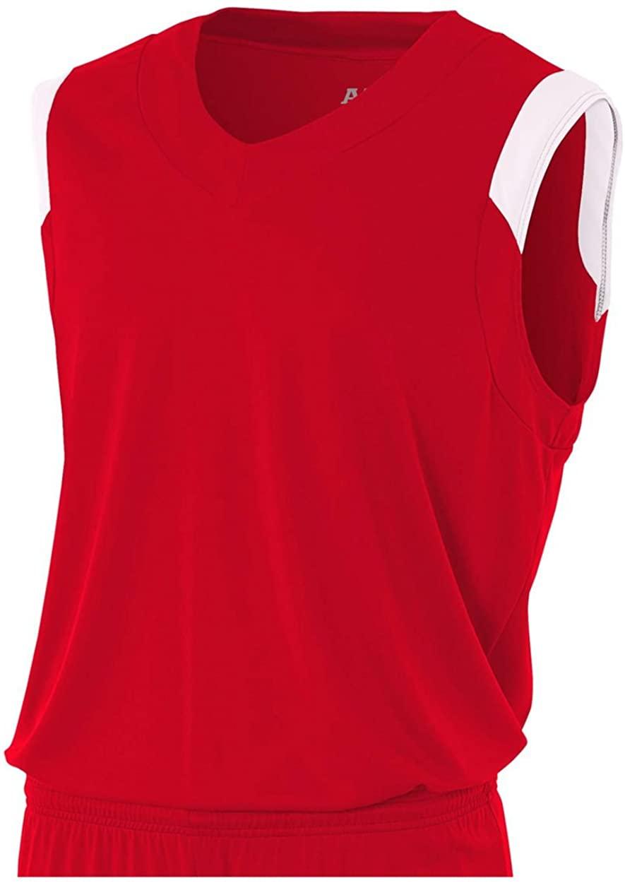 A4 Sportswear Scarlet/White Youth Medium (Blank) Muscle Tank
