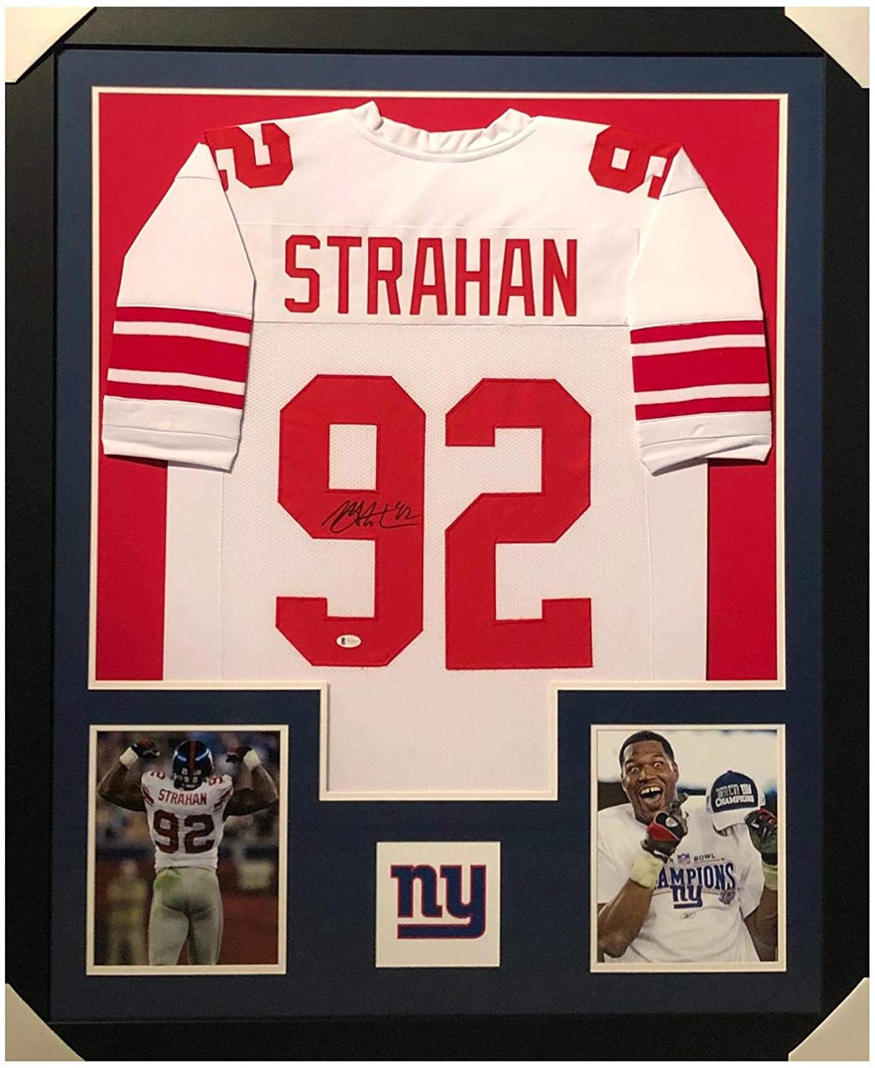 Michael Strahan Signed Jersey - Framed Vertical Layout Pro Edition White Beckett) - Beckett Authentication