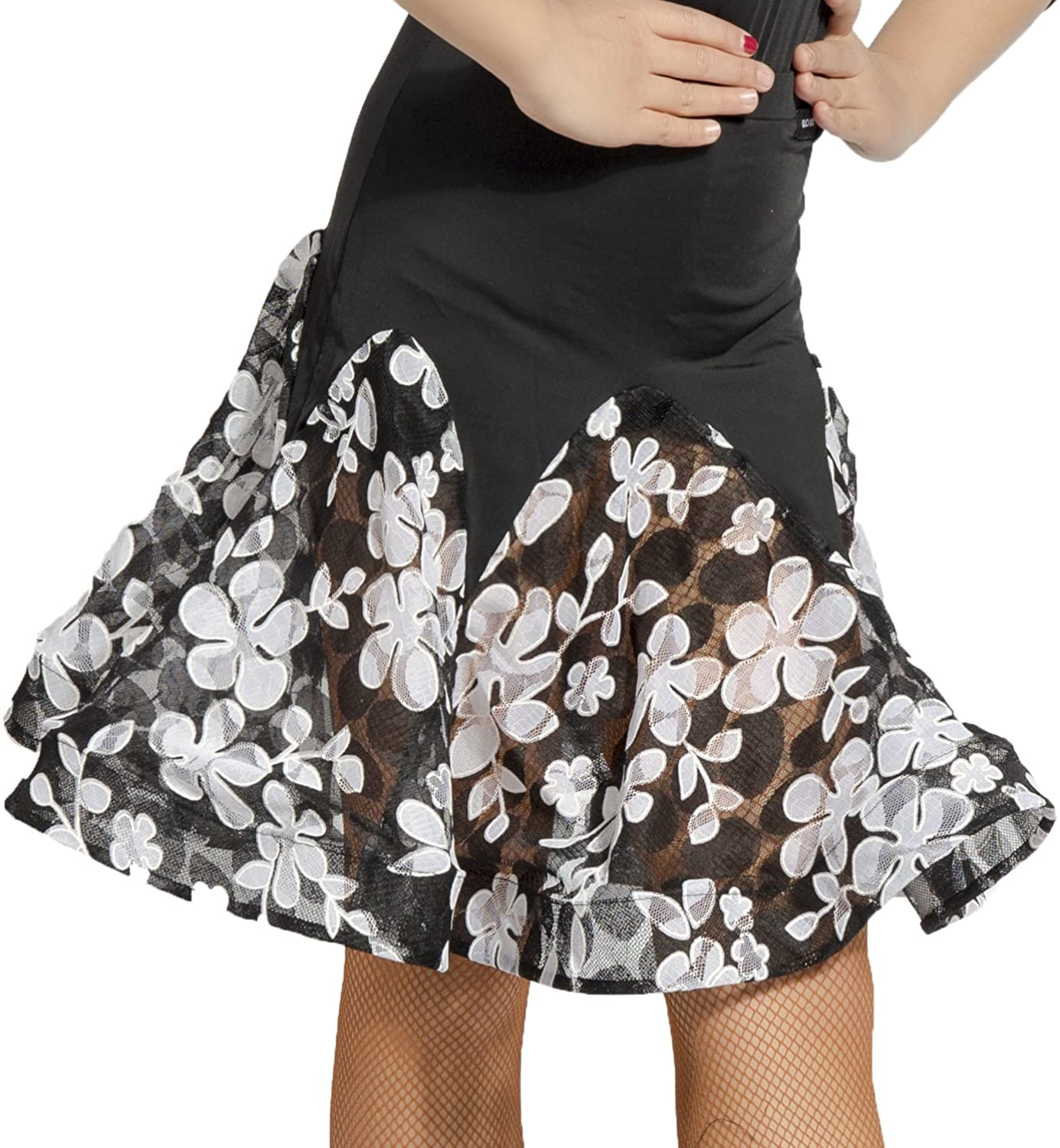 GD2042 Kid Latin Ballroom Ball Party Dance Professional lace Flower Stitching Design Skirt for Girl
